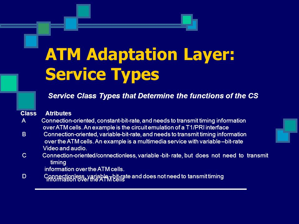 ATM Adaptation Layer: AAL Type 1 ATM Adaptation Layer Type 1: AAL functions in support of constant bit rate, time-dependent traffic such as voice and video.