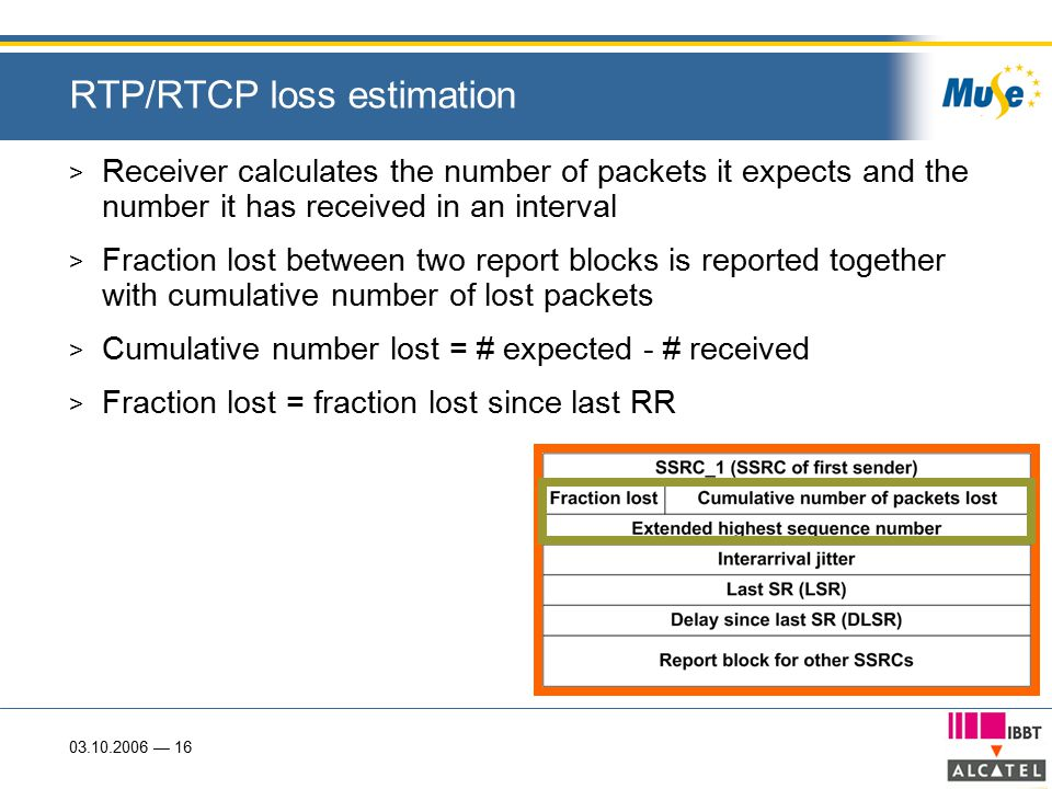 03.10.2006 — 16 RTP/RTCP loss estimation > Receiver calculates the number of packets it expects and the number it has received in an interval > Fraction lost between two report blocks is reported together with cumulative number of lost packets > Cumulative number lost = # expected - # received > Fraction lost = fraction lost since last RR
