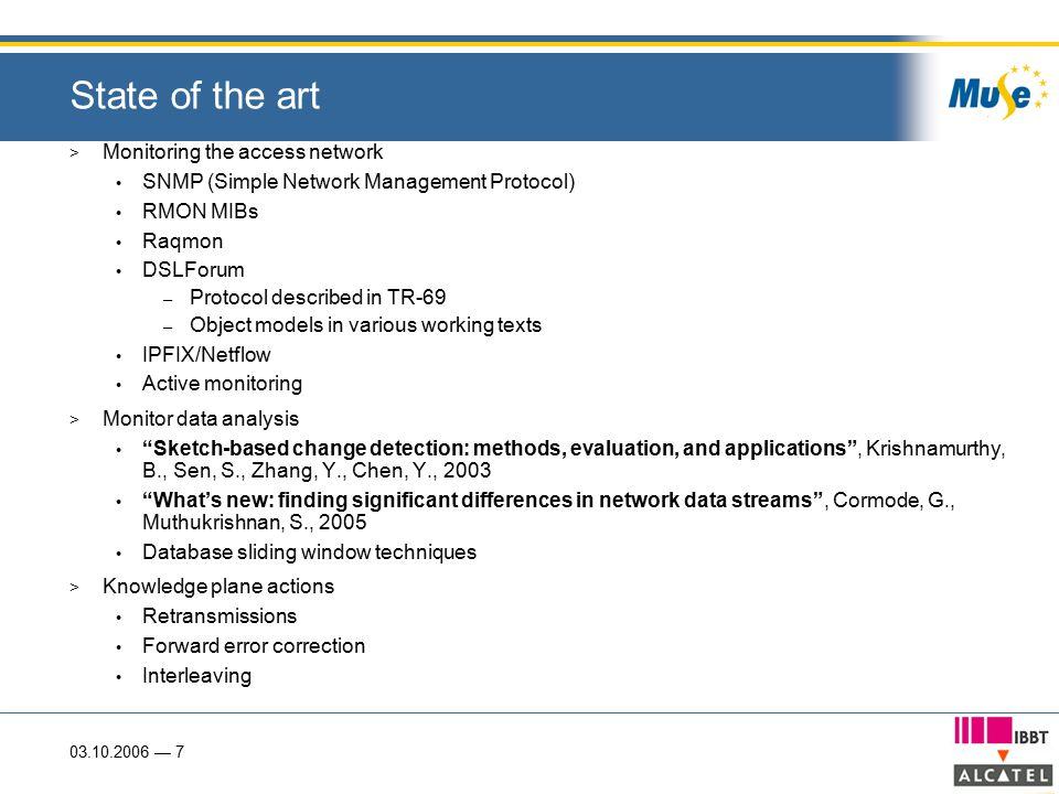 03.10.2006 — 7 State of the art > Monitoring the access network SNMP (Simple Network Management Protocol) RMON MIBs Raqmon DSLForum – Protocol describ