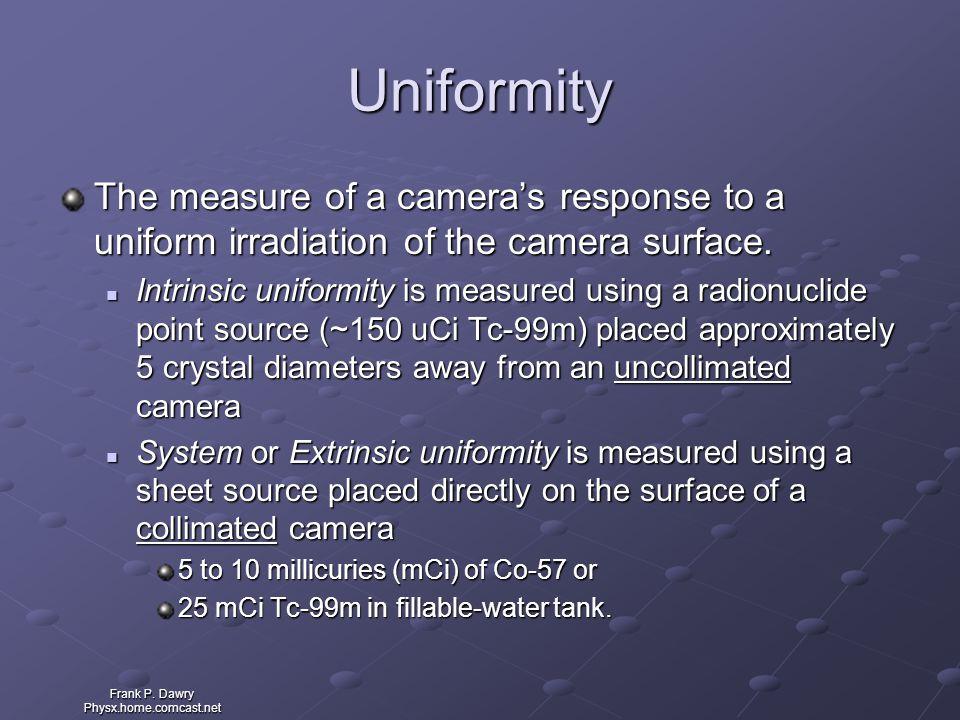 Frank P. Dawry Physx.home.comcast.net Uniformity The measure of a camera's response to a uniform irradiation of the camera surface. Intrinsic uniformi