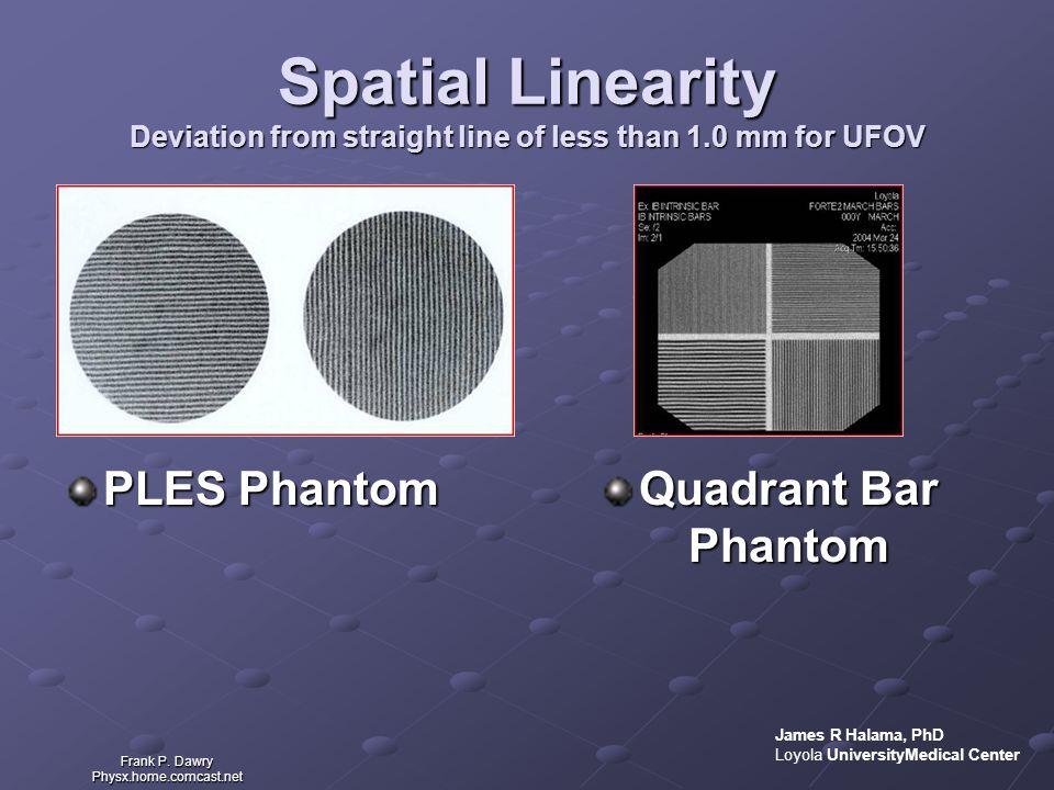 Spatial Linearity Deviation from straight line of less than 1.0 mm for UFOV PLES Phantom Quadrant Bar Phantom Frank P. Dawry Physx.home.comcast.net Ja