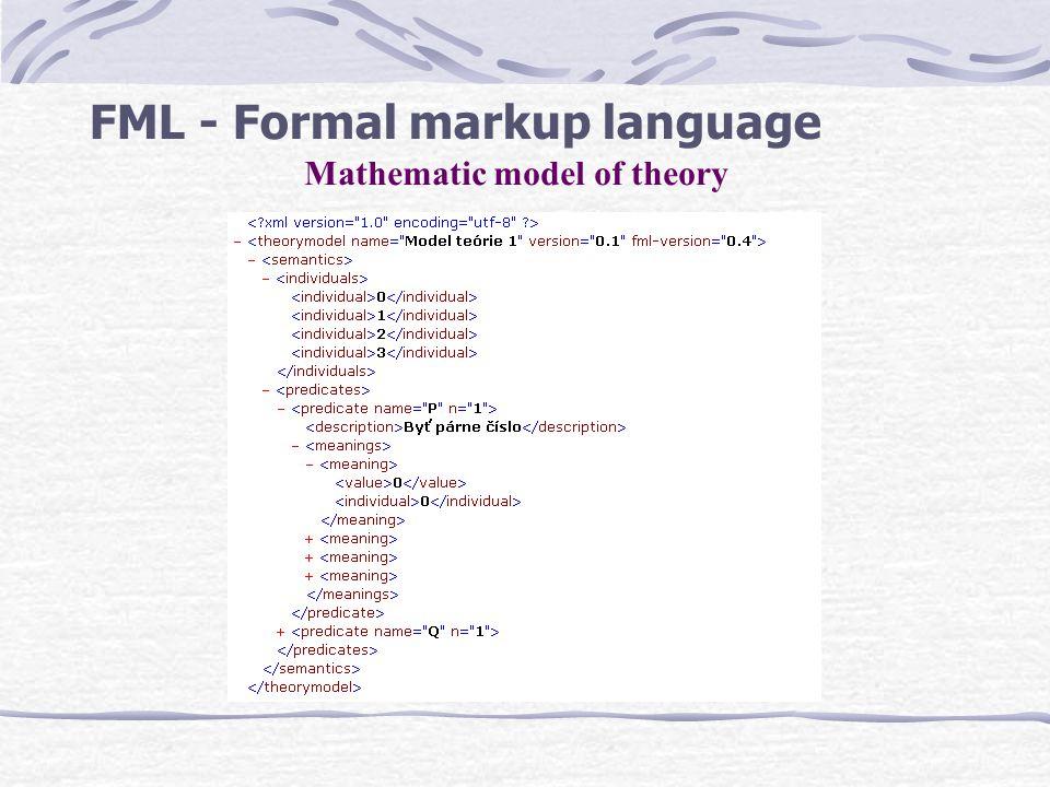 FML - Formal markup language Mathematic model of theory