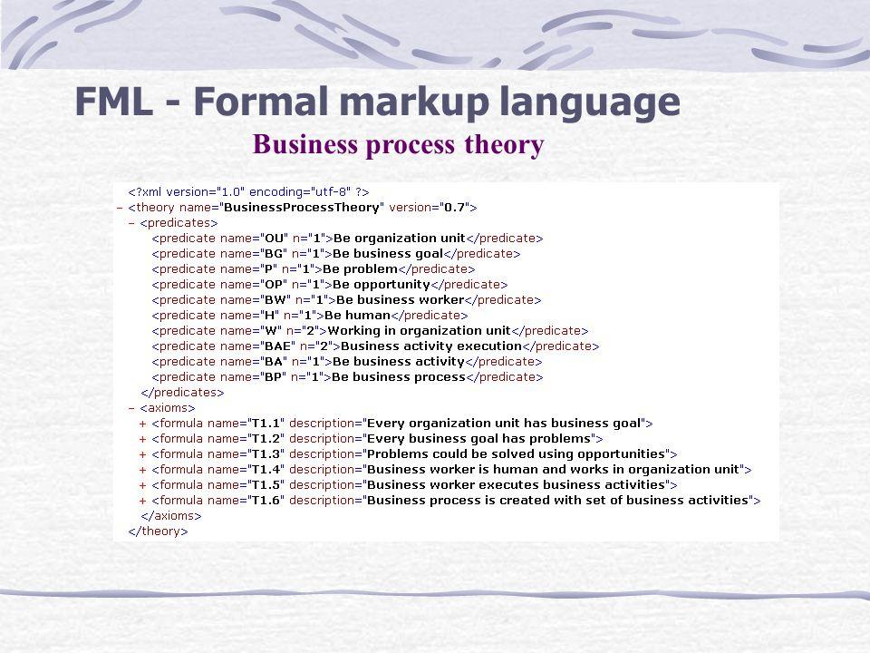 FML - Formal markup language Business process theory