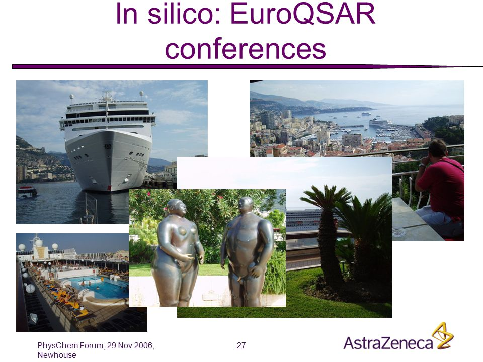 PhysChem Forum, 29 Nov 2006, Newhouse 27 QSAR has its attraction … In silico: EuroQSAR conferences