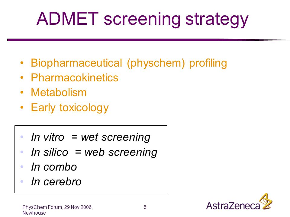 PhysChem Forum, 29 Nov 2006, Newhouse 5 ADMET screening strategy Biopharmaceutical (physchem) profiling Pharmacokinetics Metabolism Early toxicology In vitro = wet screening In silico = web screening In combo In cerebro
