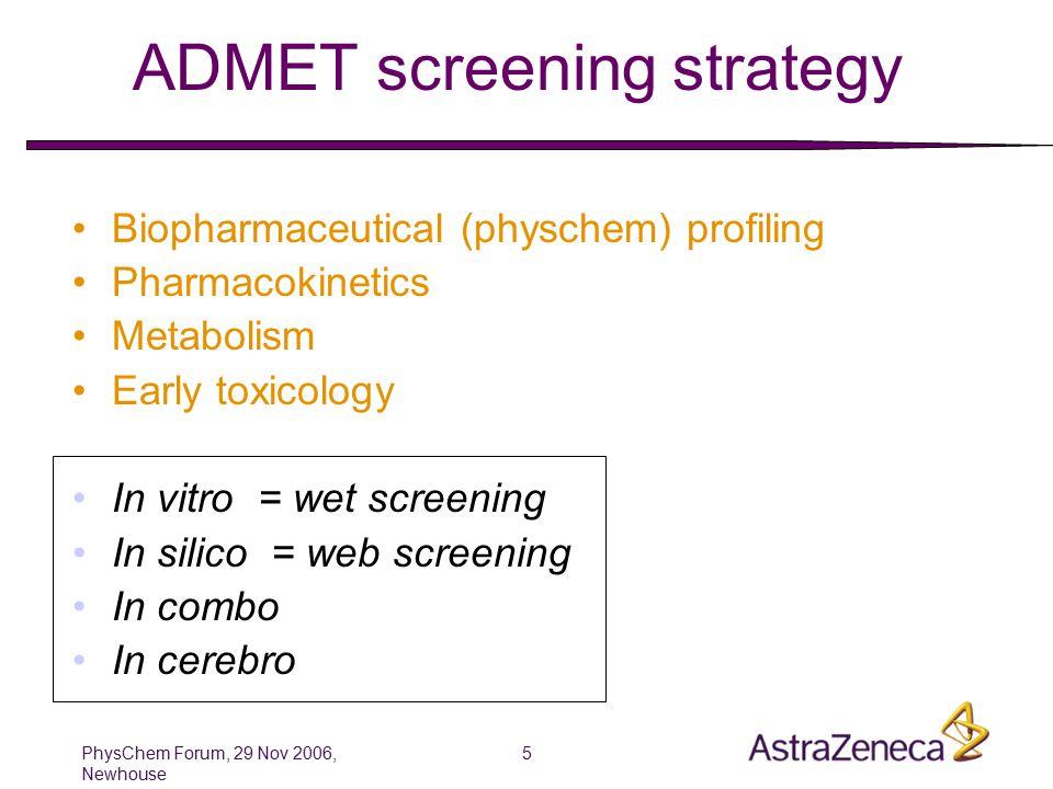 PhysChem Forum, 29 Nov 2006, Newhouse 6 Wet screening (in vitro measurement)