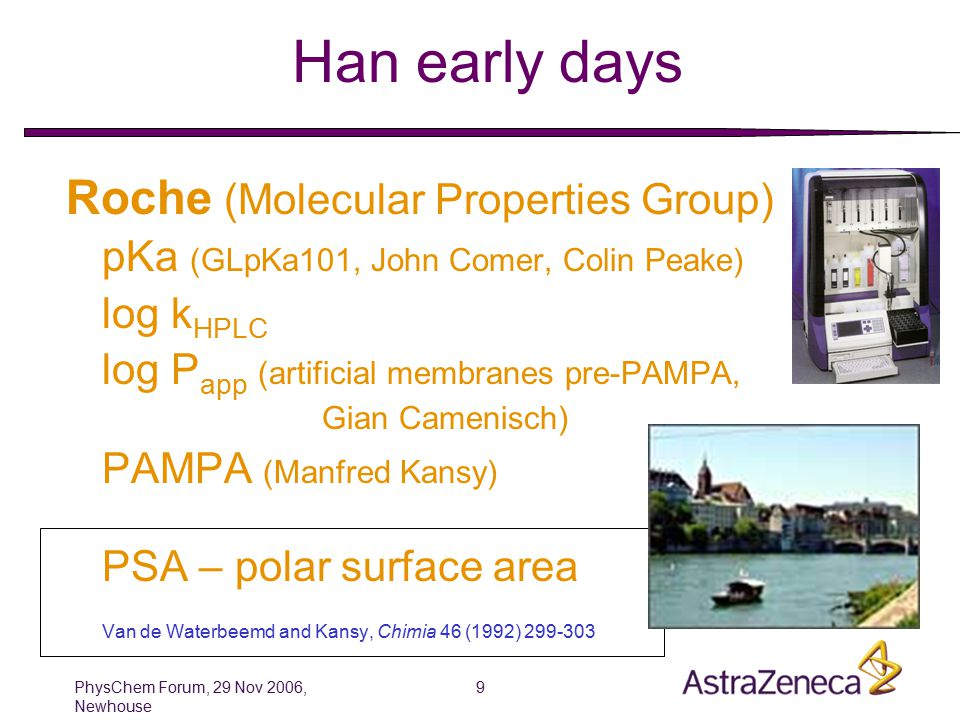 PhysChem Forum, 29 Nov 2006, Newhouse 9 Han early days Roche (Molecular Properties Group) pKa (GLpKa101, John Comer, Colin Peake) log k HPLC log P app (artificial membranes pre-PAMPA, Gian Camenisch) PAMPA (Manfred Kansy) PSA – polar surface area Van de Waterbeemd and Kansy, Chimia 46 (1992) 299-303