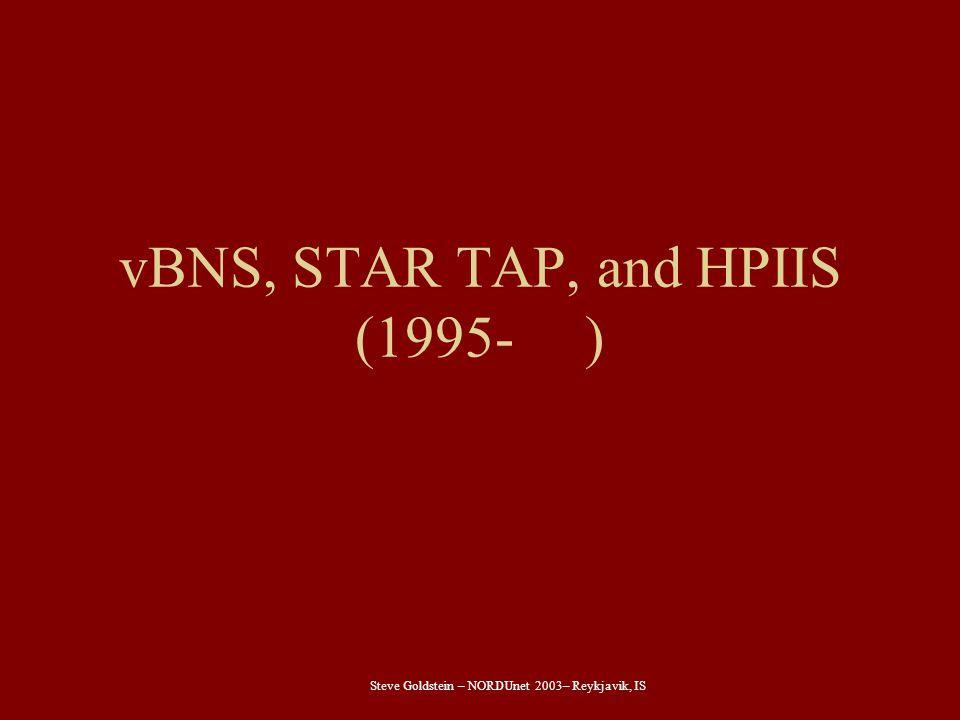 Steve Goldstein – NORDUnet 2003– Reykjavik, IS vBNS, STAR TAP, and HPIIS (1995- )