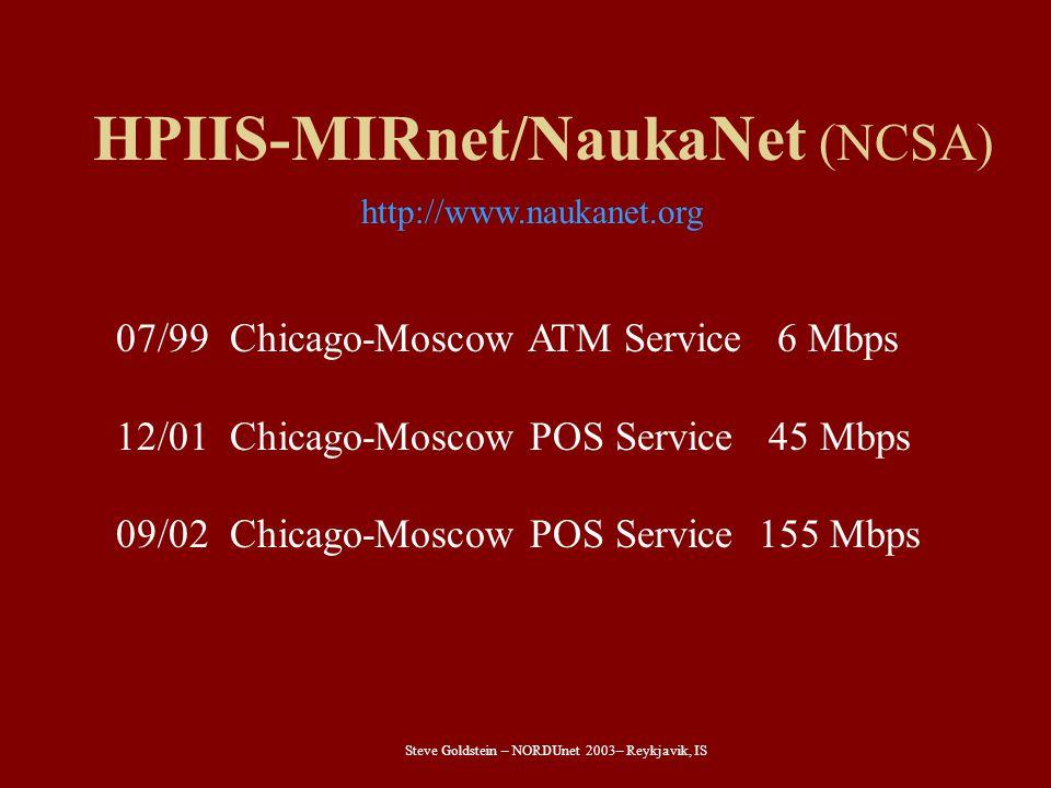 Steve Goldstein – NORDUnet 2003– Reykjavik, IS HPIIS-MIRnet/NaukaNet (NCSA) 07/99 Chicago-Moscow ATM Service 6 Mbps 12/01 Chicago-Moscow POS Service 45 Mbps 09/02 Chicago-Moscow POS Service 155 Mbps http://www.naukanet.org