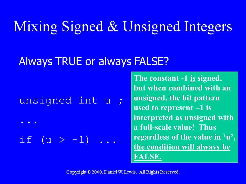 Copyright © 2000, Daniel W. Lewis. All Rights Reserved. Interpreting the Bitwise-AND