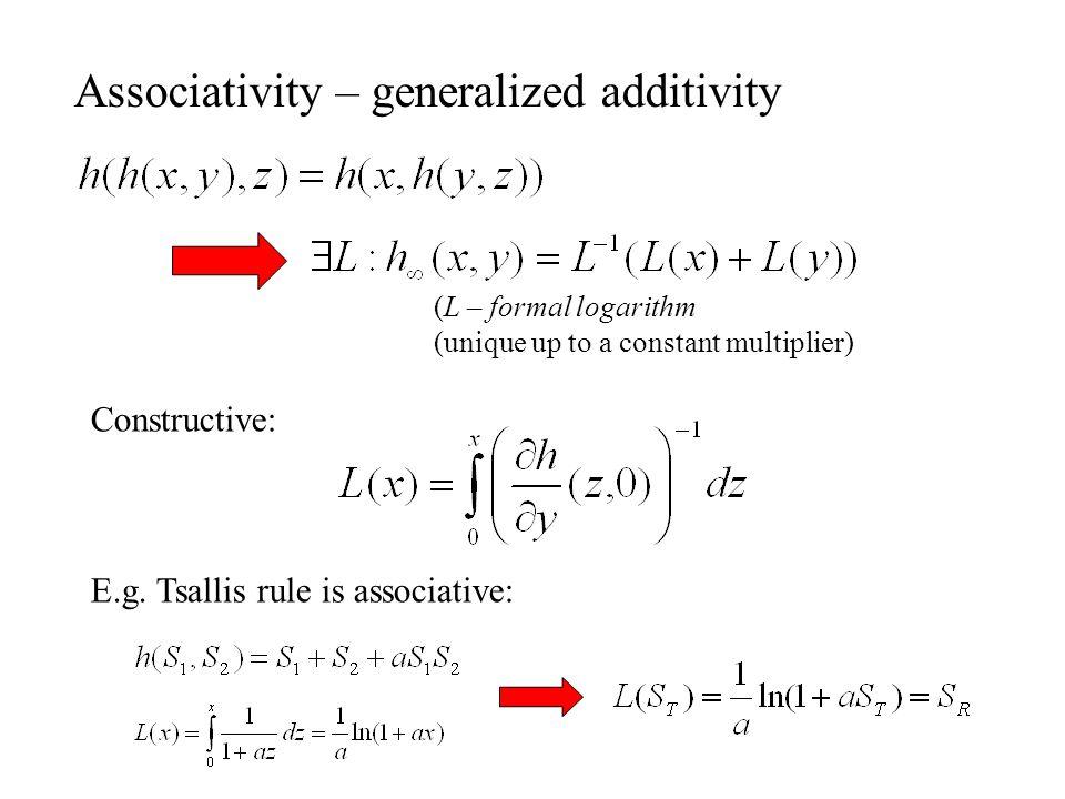 Associativity – generalized additivity (L – formal logarithm (unique up to a constant multiplier) Constructive: E.g.