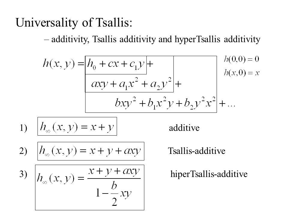 Universality of Tsallis: – additivity, Tsallis additivity and hyperTsallis additivity 1) additive 2) Tsallis-additive 3) hiperTsallis-additive