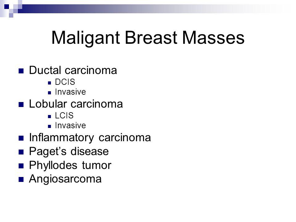 Maligant Breast Masses Ductal carcinoma DCIS Invasive Lobular carcinoma LCIS Invasive Inflammatory carcinoma Paget's disease Phyllodes tumor Angiosarcoma