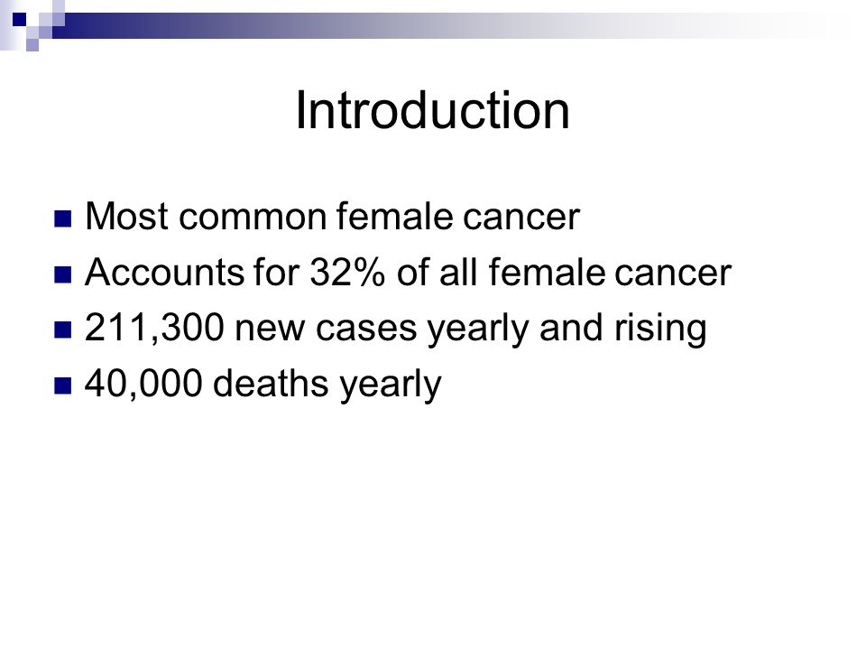 Introduction Most common female cancer Accounts for 32% of all female cancer 211,300 new cases yearly and rising 40,000 deaths yearly