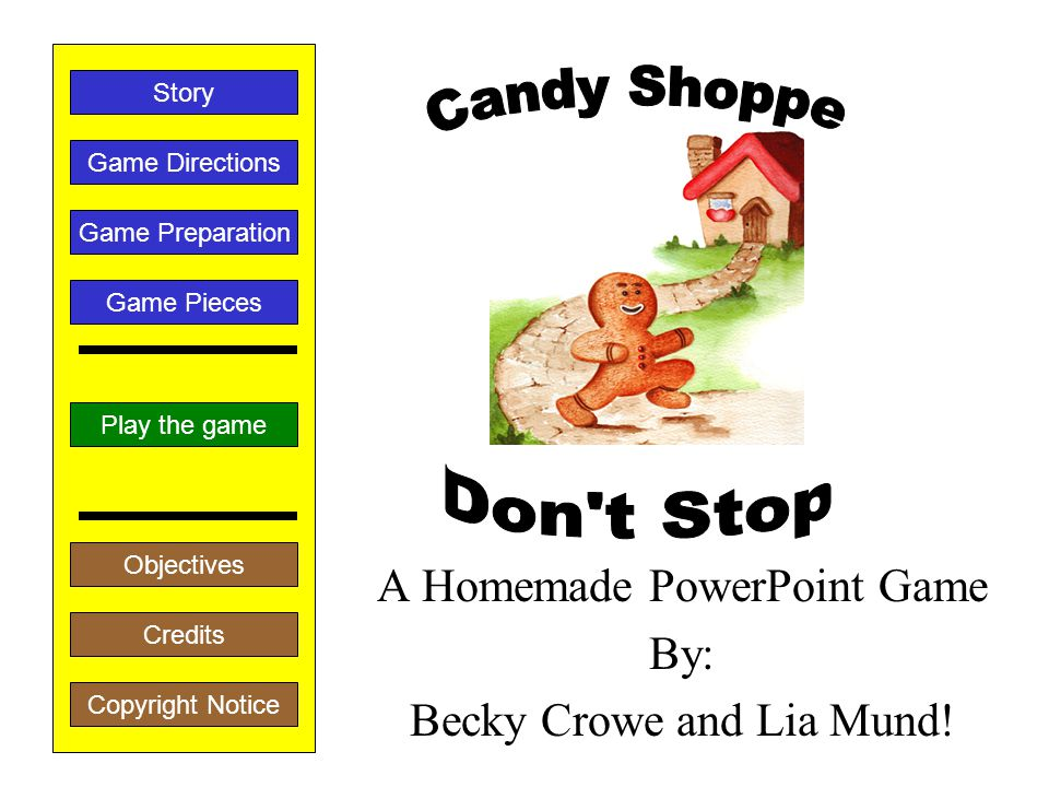 A Homemade PowerPoint Game By: Becky Crowe and Lia Mund.