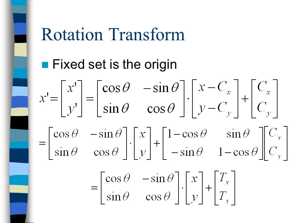 Rotation Transform Fixed set is the origin