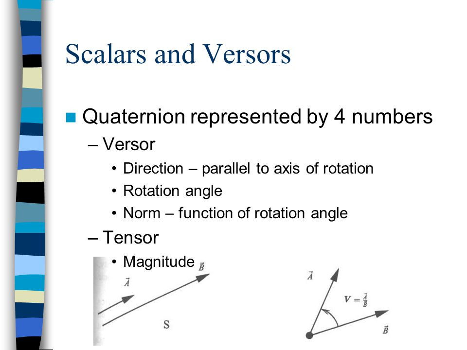 Scalars and Versors Quaternion represented by 4 numbers –Versor Direction – parallel to axis of rotation Rotation angle Norm – function of rotation an