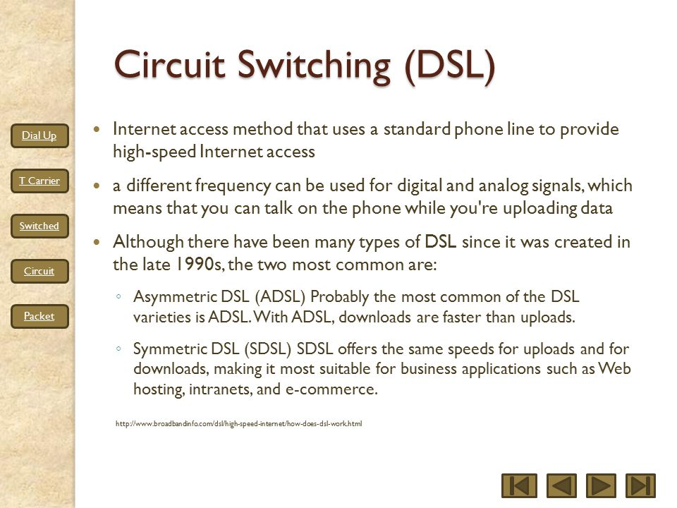 Dial Up T Carrier Switched Circuit Packet Circuit Switching (DSL) Internet access method that uses a standard phone line to provide high-speed Internet access a different frequency can be used for digital and analog signals, which means that you can talk on the phone while you re uploading data Although there have been many types of DSL since it was created in the late 1990s, the two most common are: ◦ Asymmetric DSL (ADSL) Probably the most common of the DSL varieties is ADSL.