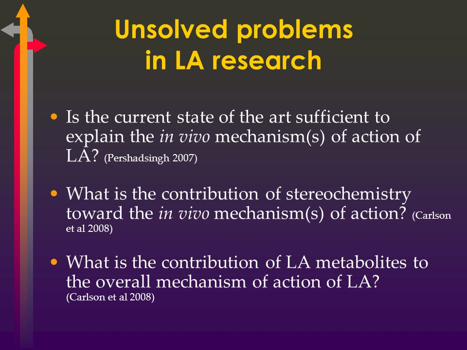 Unsolved problems in LA research Is the current state of the art sufficient to explain the in vivo mechanism(s) of action of LA.