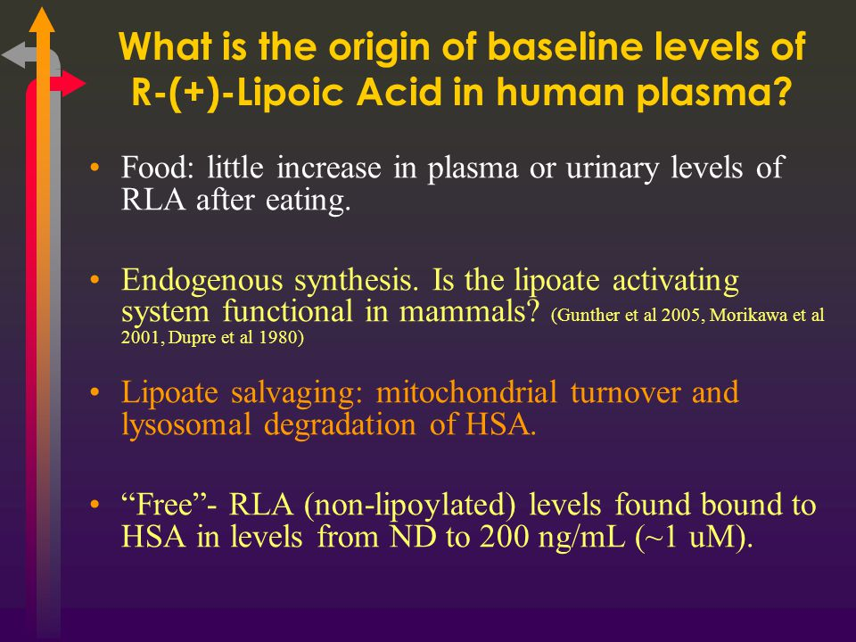 What is the origin of baseline levels of R-(+)-Lipoic Acid in human plasma.