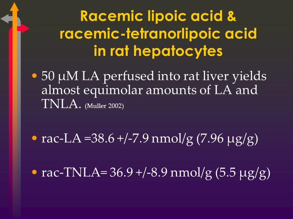 Racemic lipoic acid & racemic-tetranorlipoic acid in rat hepatocytes 50 µM LA perfused into rat liver yields almost equimolar amounts of LA and TNLA.