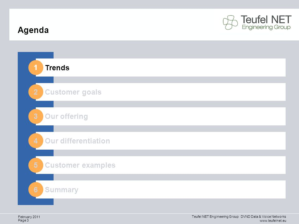 Teufel NET Engineering Group DVND Data & Voice Networks www.teufelnet.eu Page 3 February 2011 Agenda Trends Customer goals Our differentiation Summary Our offering Customer examples 1 2 3 4 5 6