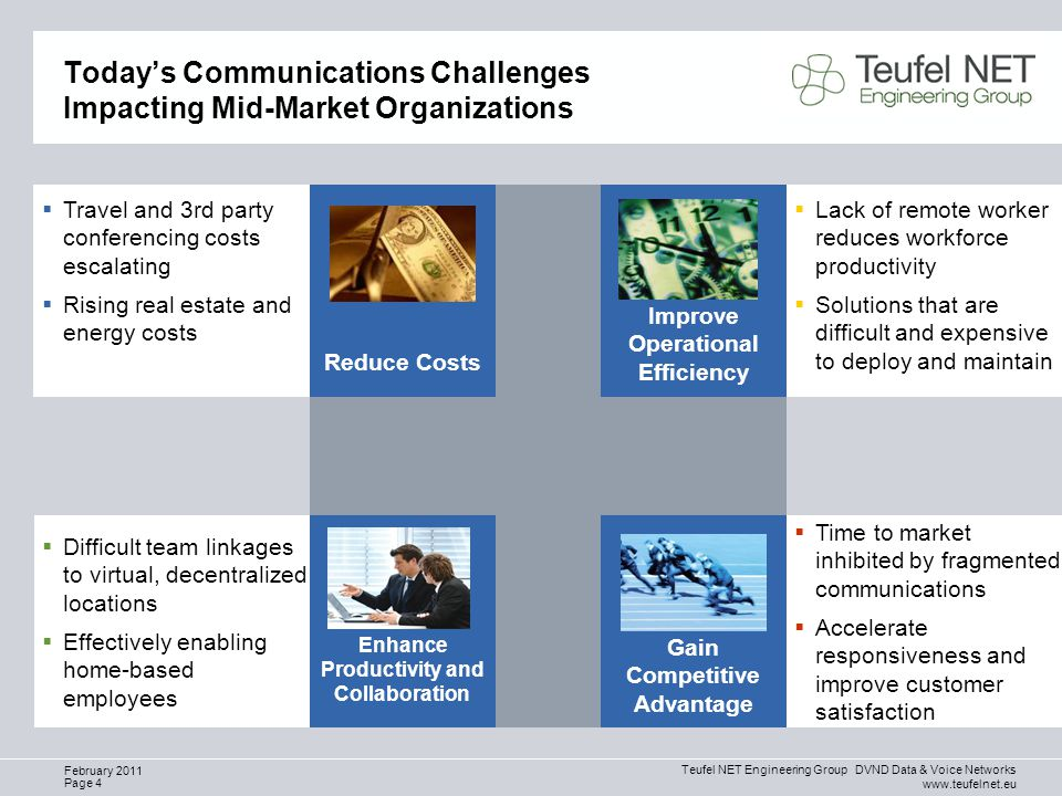 Teufel NET Engineering Group DVND Data & Voice Networks www.teufelnet.eu Page 4 February 2011 Today's Communications Challenges Impacting Mid-Market Organizations  Time to market inhibited by fragmented communications  Accelerate responsiveness and improve customer satisfaction  Travel and 3rd party conferencing costs escalating  Rising real estate and energy costs  Lack of remote worker reduces workforce productivity  Solutions that are difficult and expensive to deploy and maintain  Difficult team linkages to virtual, decentralized locations  Effectively enabling home-based employees Gain Competitive Advantage Reduce Costs Improve Operational Efficiency Enhance Productivity and Collaboration