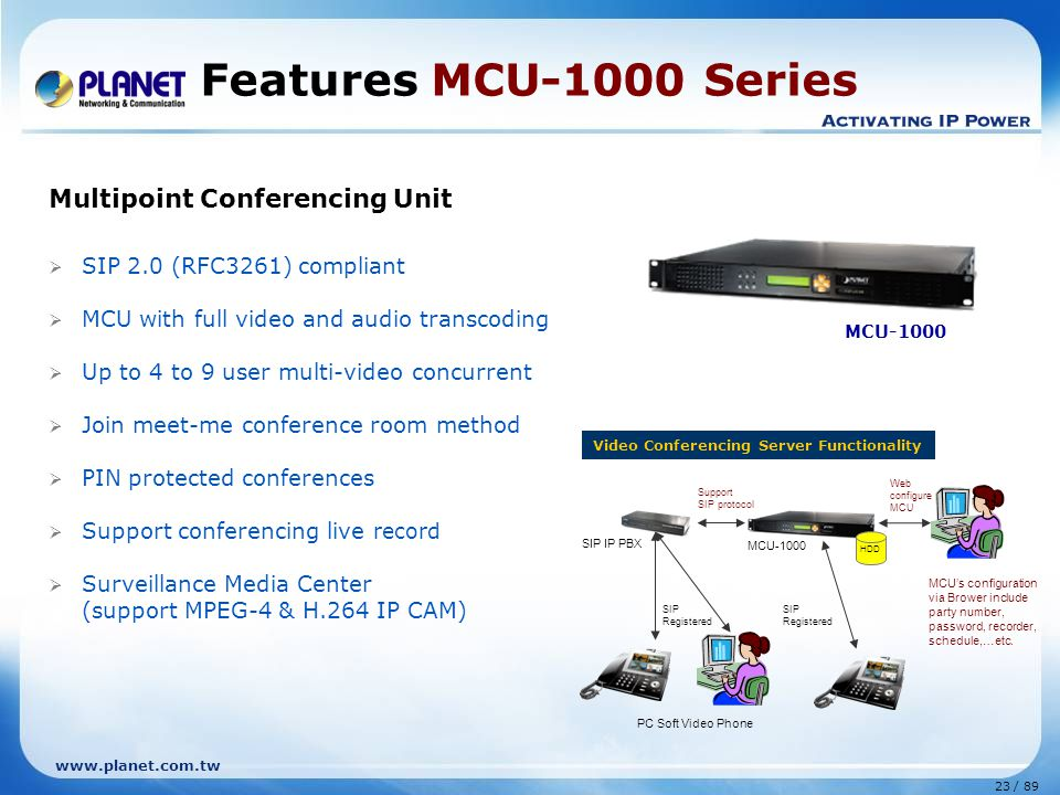 23 / 89 www.planet.com.tw Multipoint Conferencing Unit  SIP 2.0 (RFC3261) compliant  MCU with full video and audio transcoding  Up to 4 to 9 user m