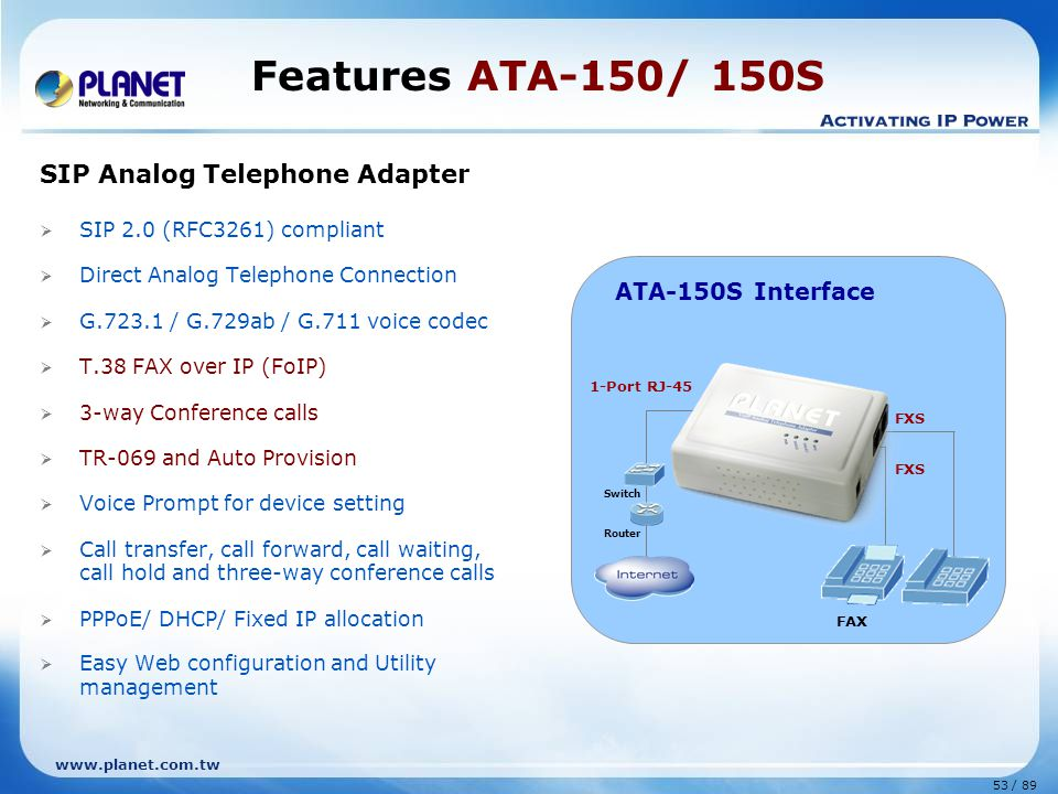 53 / 89 www.planet.com.tw SIP Analog Telephone Adapter  SIP 2.0 (RFC3261) compliant  Direct Analog Telephone Connection  G.723.1 / G.729ab / G.711