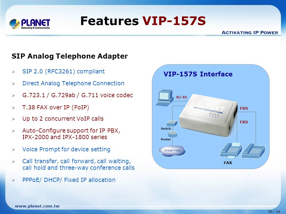 56 / 89 www.planet.com.tw SIP Analog Telephone Adapter  SIP 2.0 (RFC3261) compliant  Direct Analog Telephone Connection  G.723.1 / G.729ab / G.711
