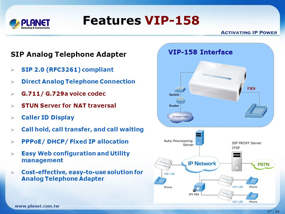 57 / 89 www.planet.com.tw SIP Analog Telephone Adapter  SIP 2.0 (RFC3261) compliant  Direct Analog Telephone Connection  G.711/ G.729a voice codec