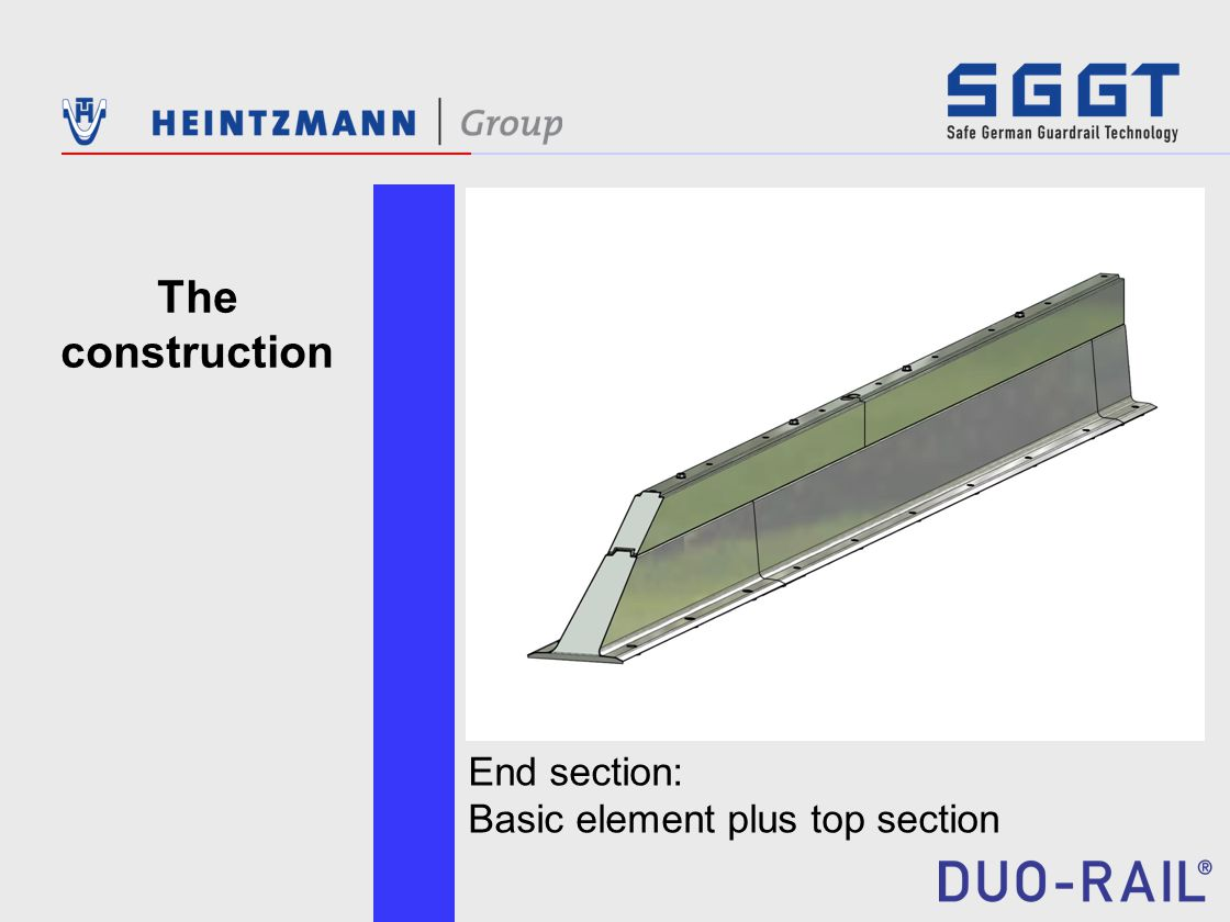 End section: Basic element plus top section The construction