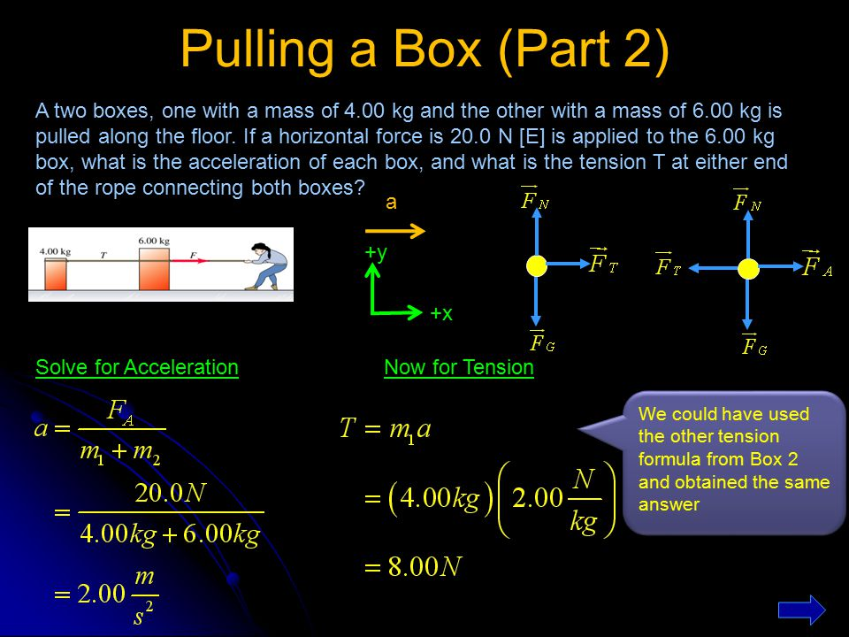 Pulling a Box (Part 2) +y +x a A two boxes, one with a mass of 4.00 kg and the other with a mass of 6.00 kg is pulled along the floor. If a horizontal
