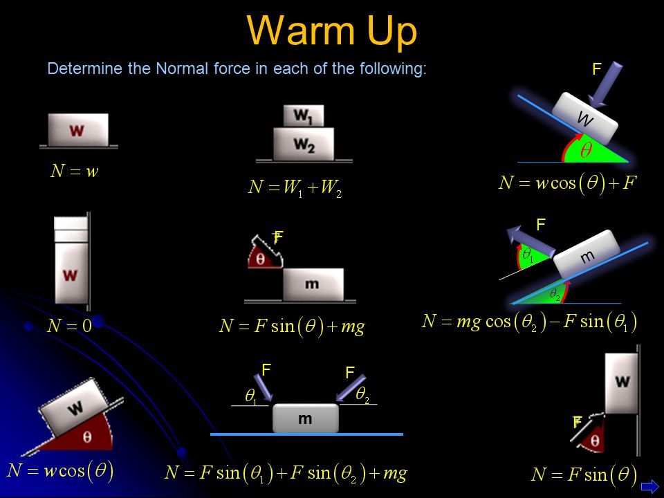 Warm Up Determine the Normal force in each of the following: m m F F F F F W W F m m