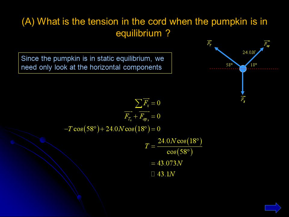 (A) What is the tension in the cord when the pumpkin is in equilibrium ? Since the pumpkin is in static equilibrium, we need only look at the horizont
