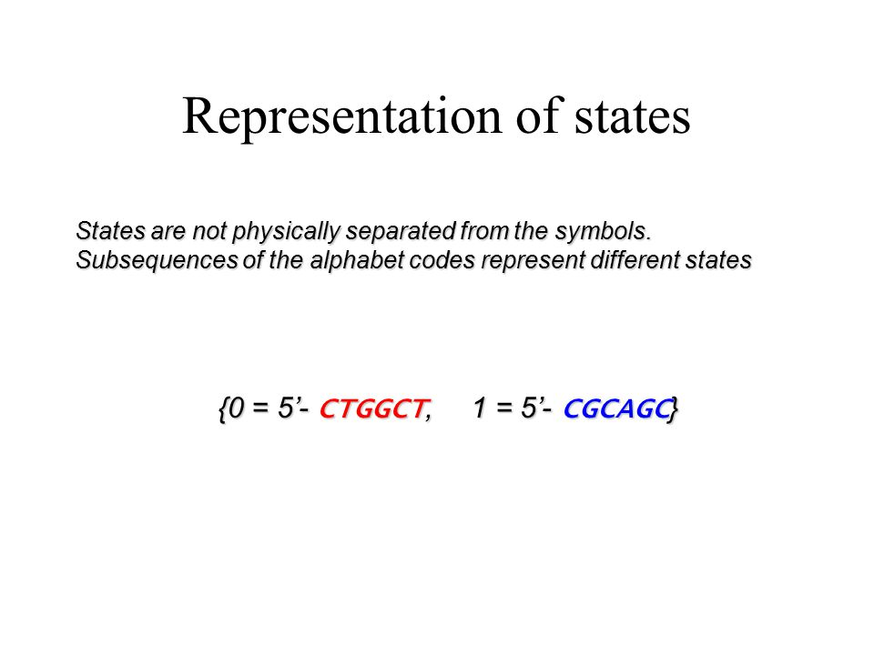 Molecular realization of FA FA Alphabet: {0 = 5'- CTGGCT, 1 = 5'- CGCAGC } 1 = 5'- CGCAGC } States: {S0,S1} S0, 0  S0 S0, 1  S1 S1, 0  S1 S1, 1  S0 S0 S1 0 0 1 1 Transition Table: