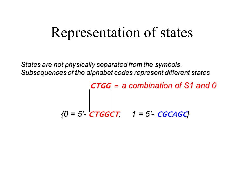 Representation of states States are not physically separated from the symbols.