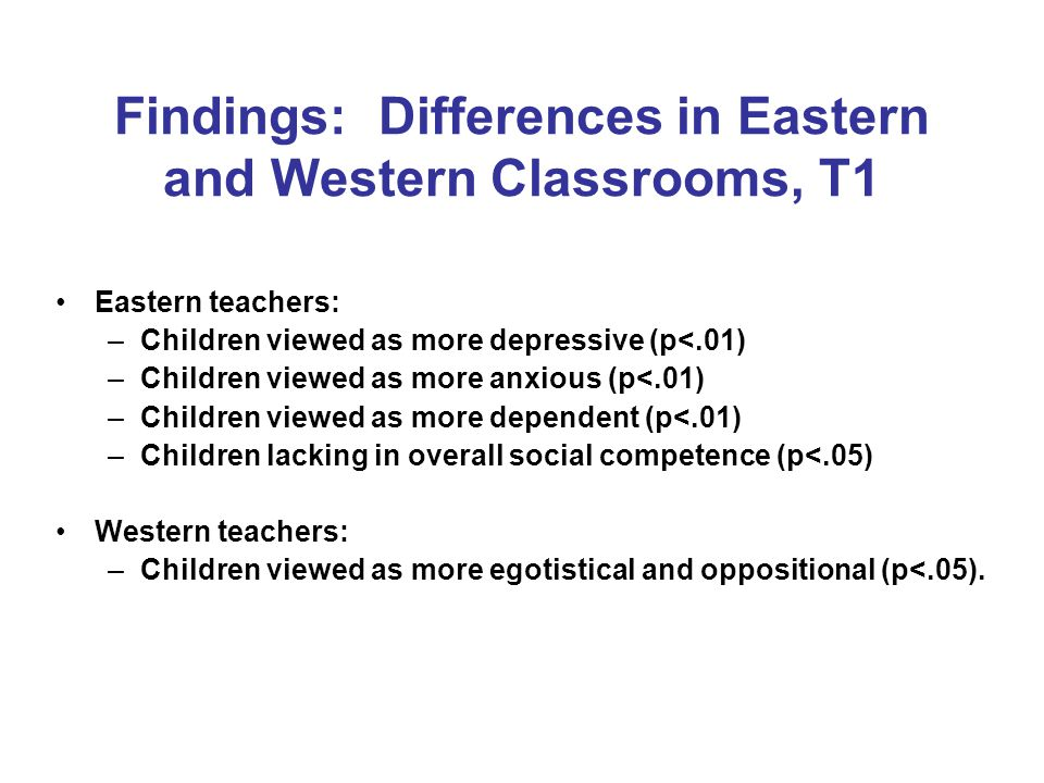 Findings: Differences in Eastern and Western Classrooms, T1 Eastern teachers: –Children viewed as more depressive (p<.01) –Children viewed as more anxious (p<.01) –Children viewed as more dependent (p<.01) –Children lacking in overall social competence (p<.05) Western teachers: –Children viewed as more egotistical and oppositional (p<.05).