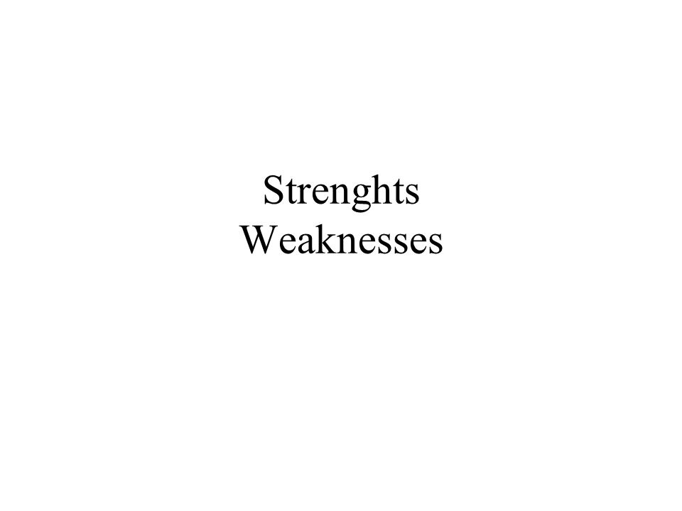 Strenghts Weaknesses