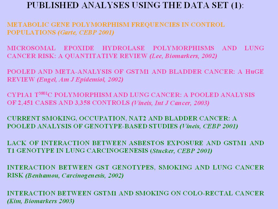 Communication of results Publications Yearly e-mail to co-investigators Web site