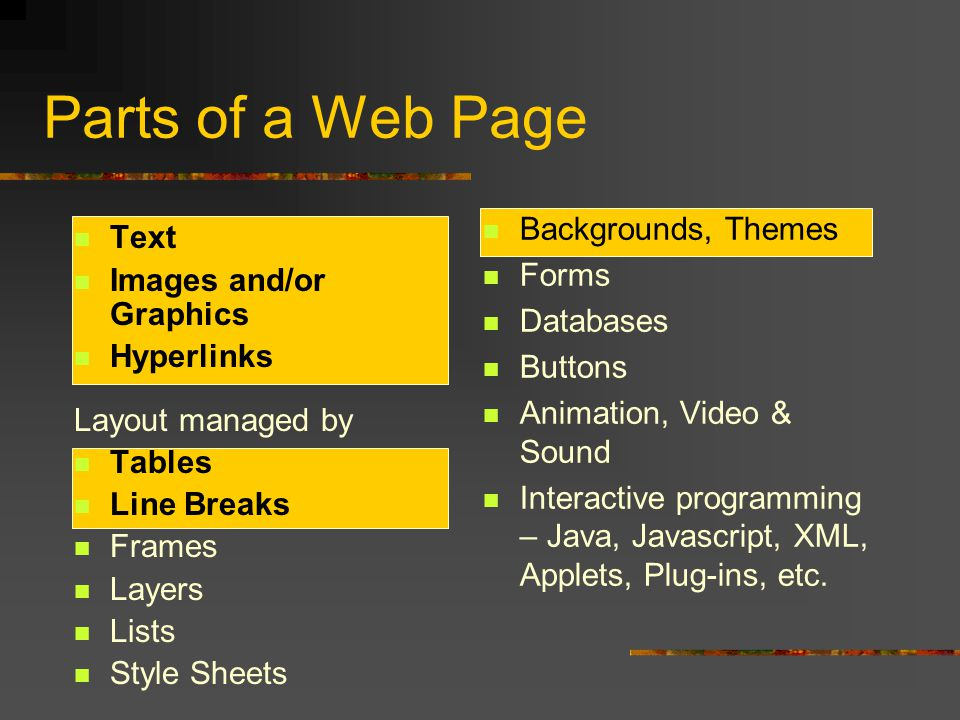Parts of a Web Page Text Images and/or Graphics Hyperlinks Layout managed by Tables Line Breaks Frames Layers Lists Style Sheets Backgrounds, Themes Forms Databases Buttons Animation, Video & Sound Interactive programming – Java, Javascript, XML, Applets, Plug-ins, etc.