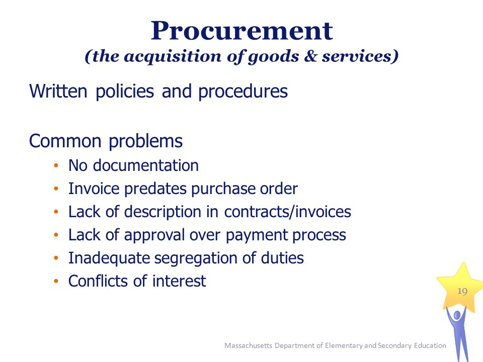 Procurement (the acquisition of goods & services) Written policies and procedures Common problems No documentation Invoice predates purchase order Lac