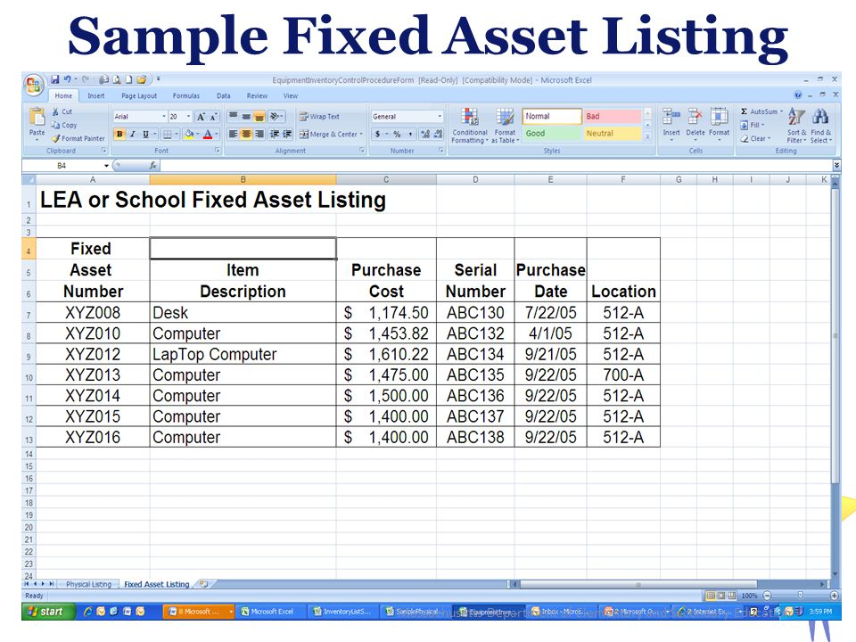 Sample Fixed Asset Listing 23 Massachusetts Department of Elementary and Secondary Education