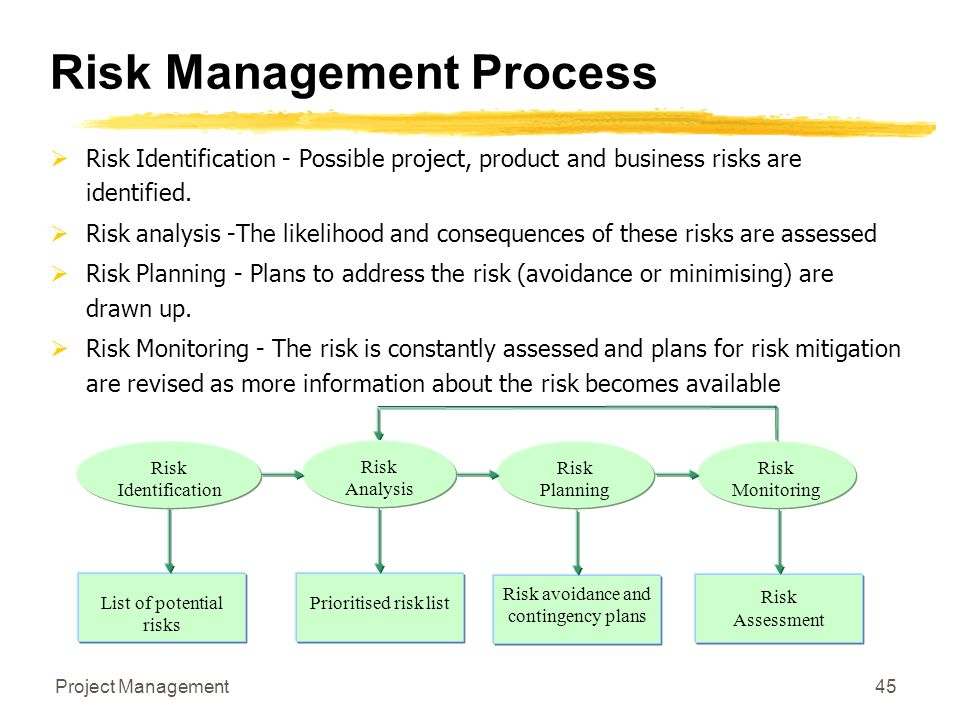 Project Management45 Risk Management Process  Risk Identification - Possible project, product and business risks are identified.  Risk analysis -The