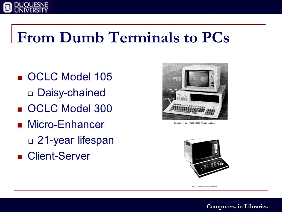 Computers in Libraries From Dumb Terminals to PCs OCLC Model 105  Daisy-chained OCLC Model 300 Micro-Enhancer  21-year lifespan Client-Server