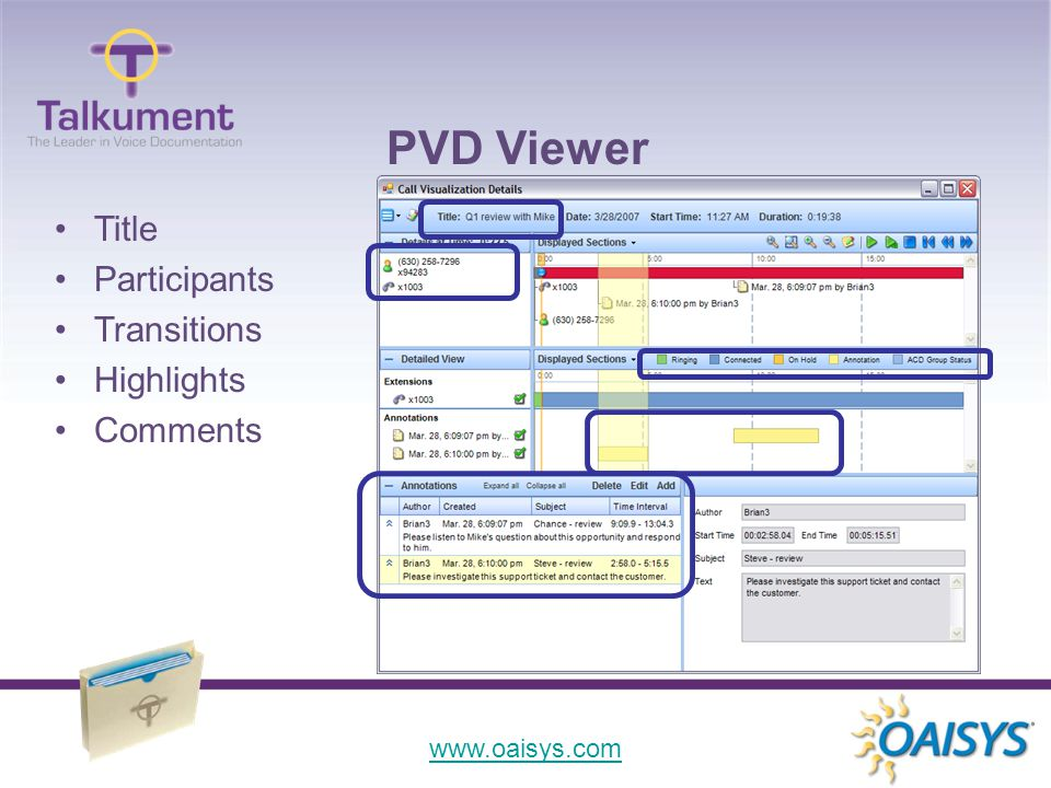 www.oaisys.com Title Participants Transitions Highlights Comments PVD Viewer
