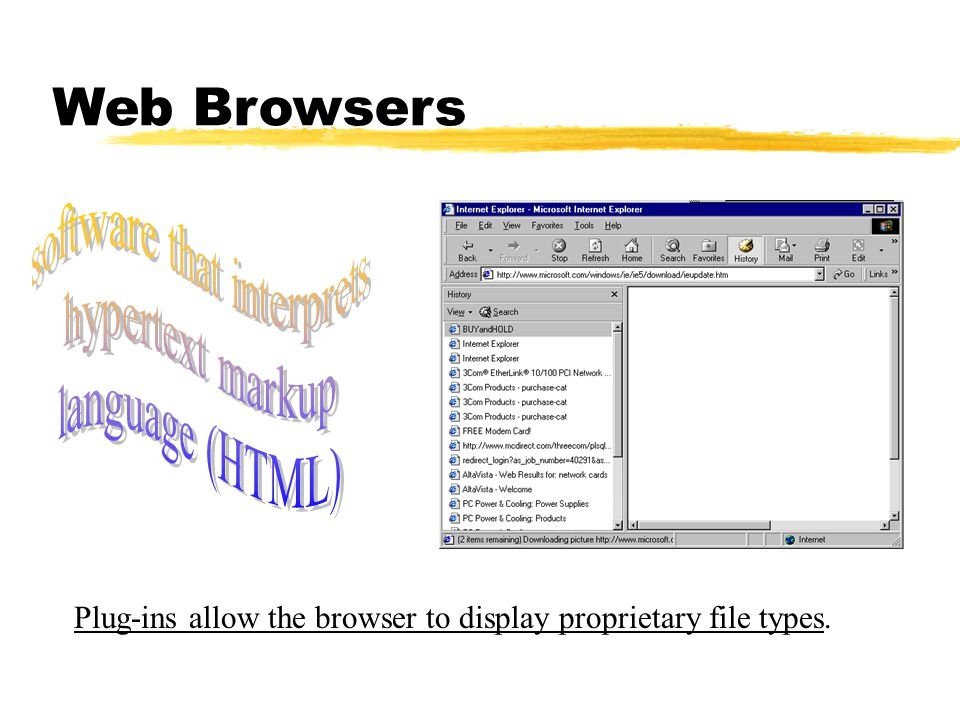 Web Browsers Plug-ins allow the browser to display proprietary file types.