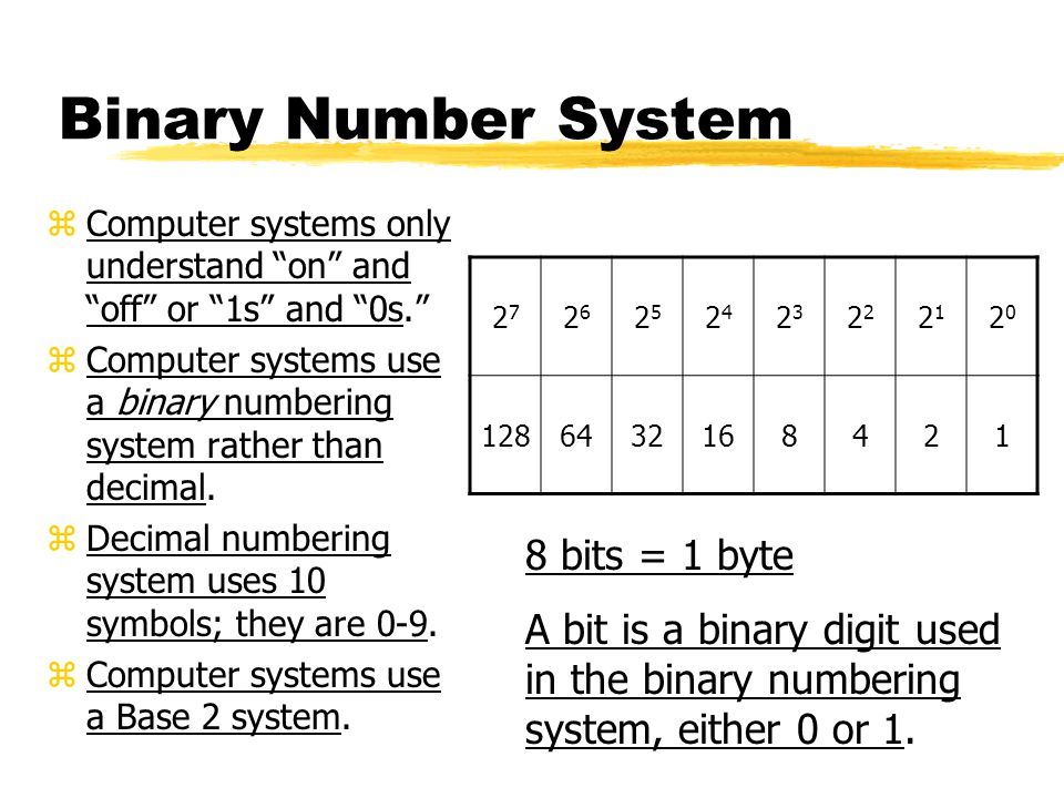 Binary Number System zComputer systems only understand on and off or 1s and 0s. zComputer systems use a binary numbering system rather than decimal.