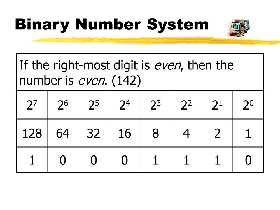 Binary Number System If the right-most digit is even, then the number is even.