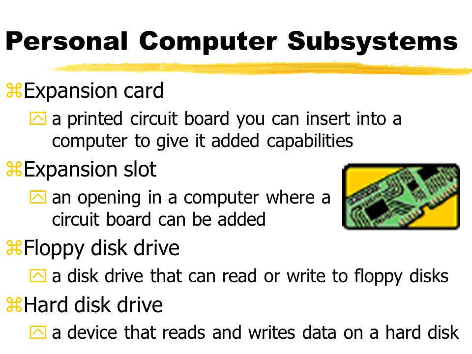 Personal Computer Subsystems zExpansion card ya printed circuit board you can insert into a computer to give it added capabilities zExpansion slot yan opening in a computer where a circuit board can be added zFloppy disk drive ya disk drive that can read or write to floppy disks zHard disk drive ya device that reads and writes data on a hard disk